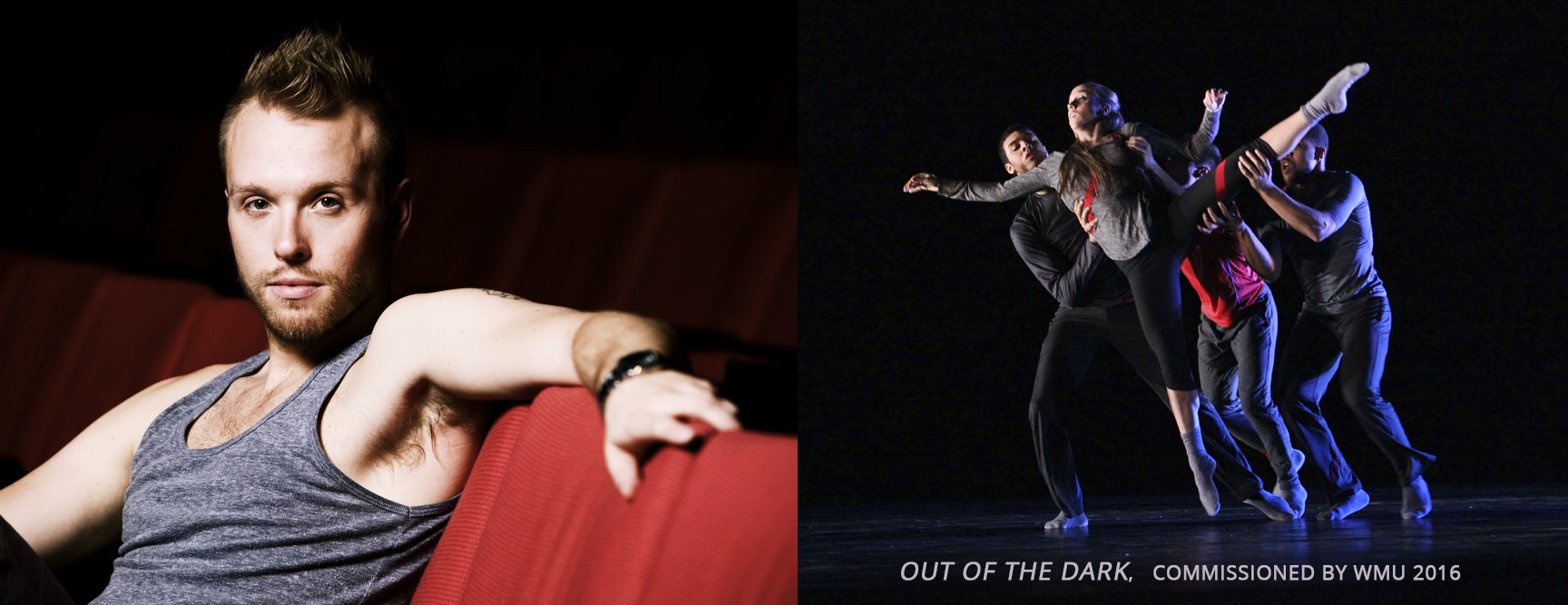 Left: James Gregg; Right: Performance of Gregg's Out of the Dark