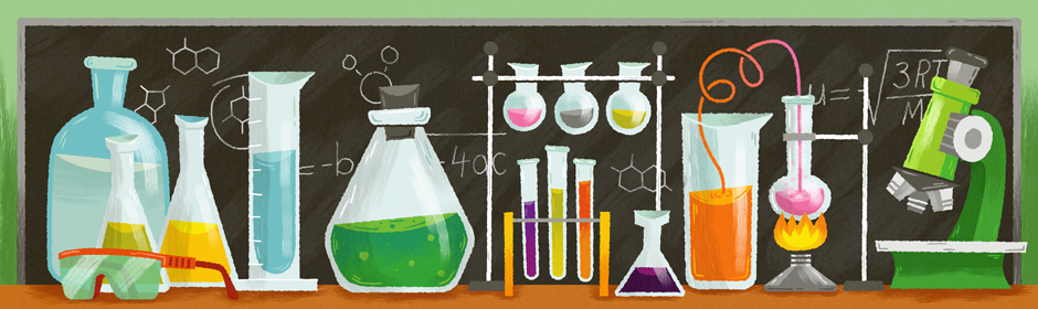 flasks, test tubes, and other science paraphenalia