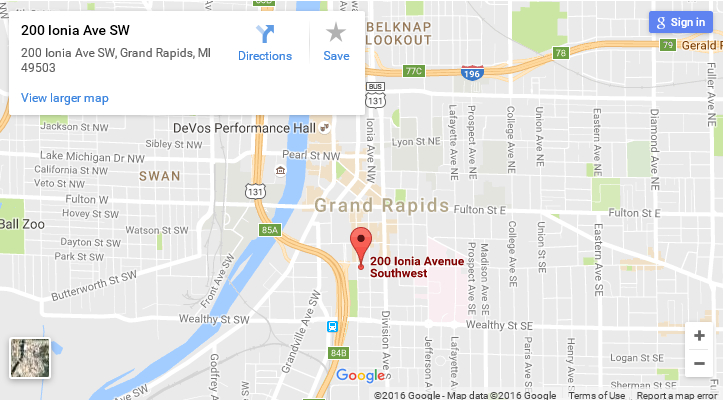 map of WMU-Grand Rapids Downtown location