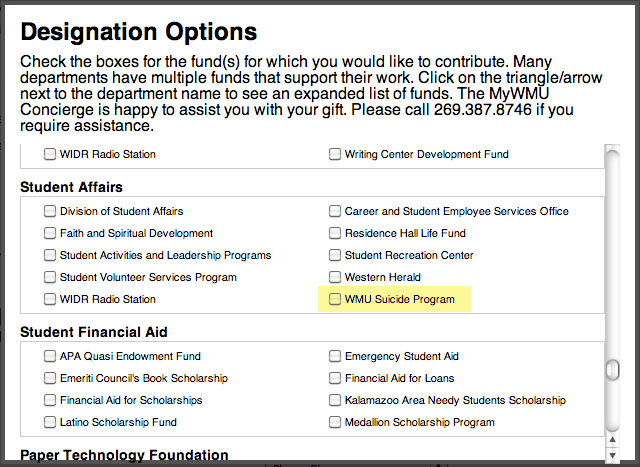 Graphic of Designation Options form.