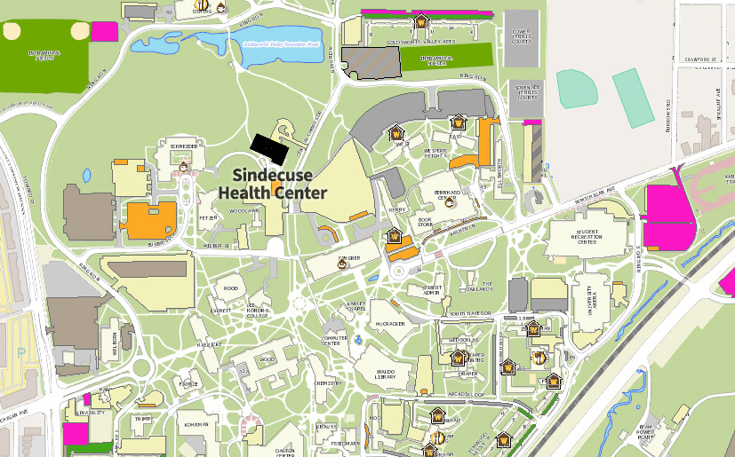 detailed graphic map of Sindecuse Health Center's place on WMU's campus. The health center is highlighted at it's location on Central Campus Drive.