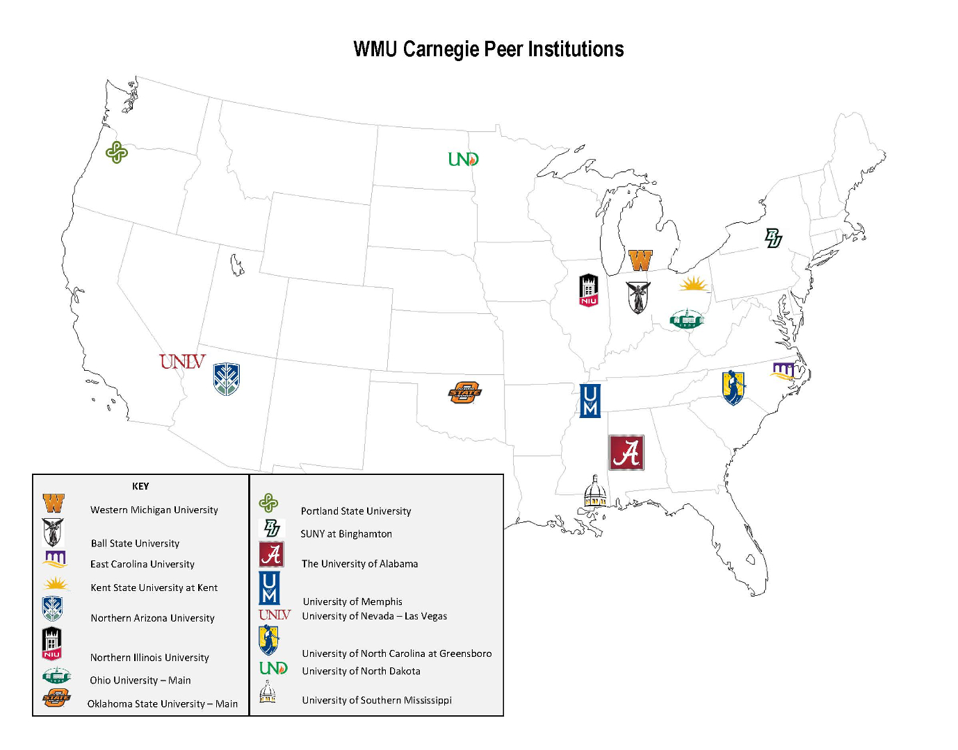 Map showing the main campus locations of WMU's Carnegie peer institutions