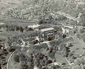 An aerial view of campus in 1933.