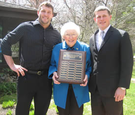Pictured left to right: Kirk Shafer, Mrs. Leta Schoenhals, Duane Kroboth