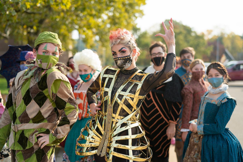 WMU Theatre students pose in elaborate costumes.