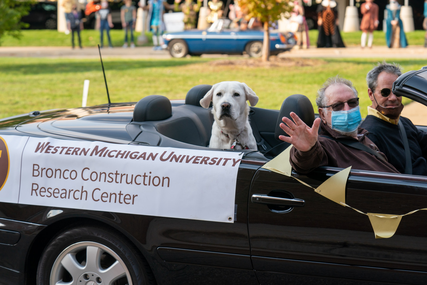 """A dog sits in the back of a car with a """"Bronco Construction Research Center"""" sign."""