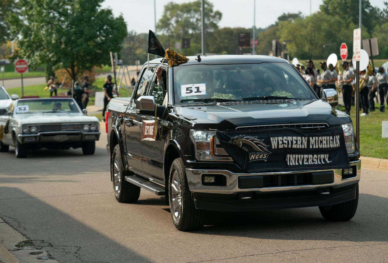 A truck decorated in WMU gear.