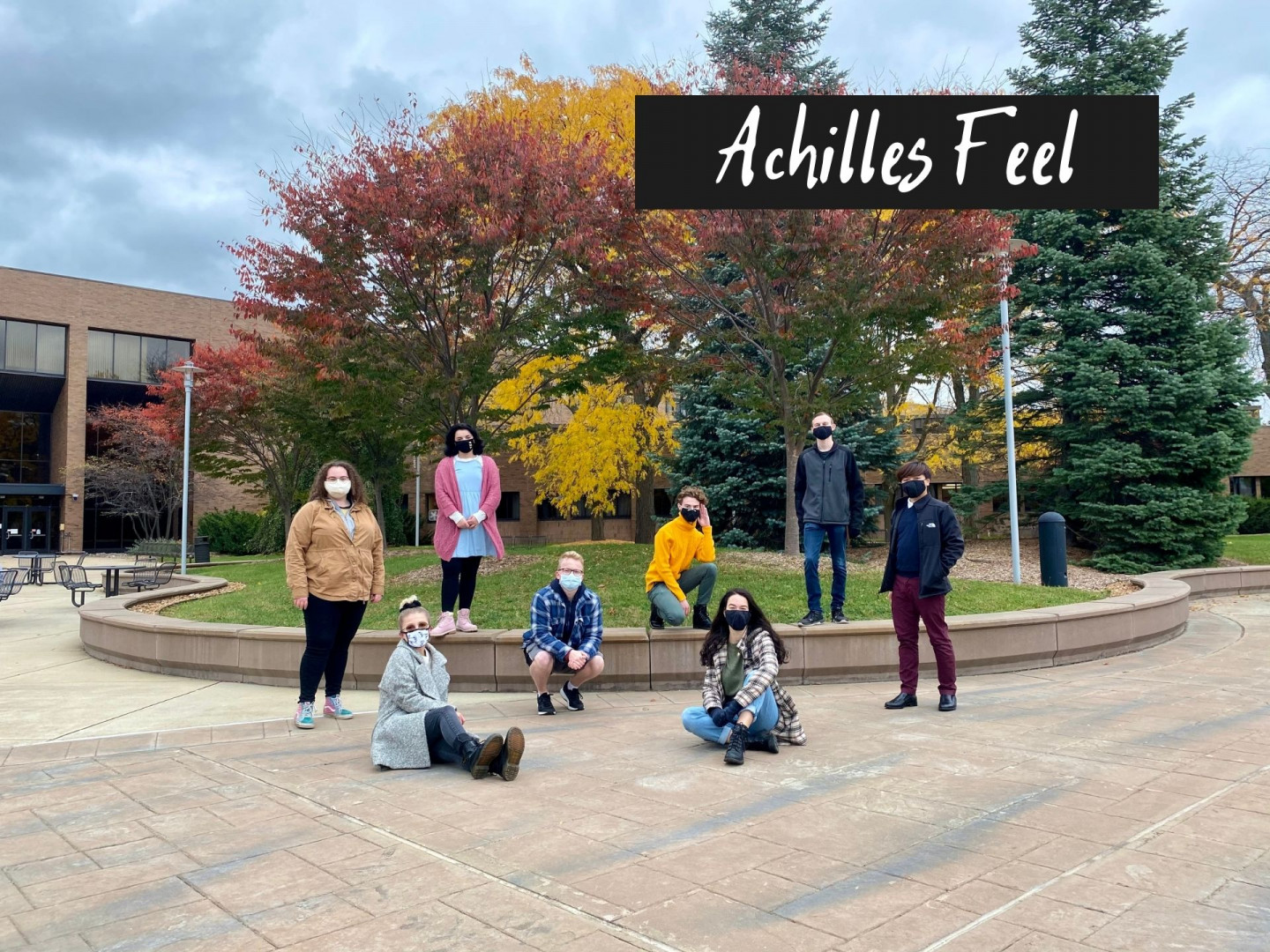 Students pose for a picture on campus.