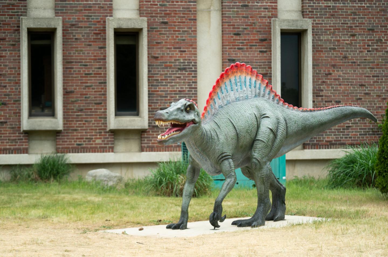 A spinosaurus statue.