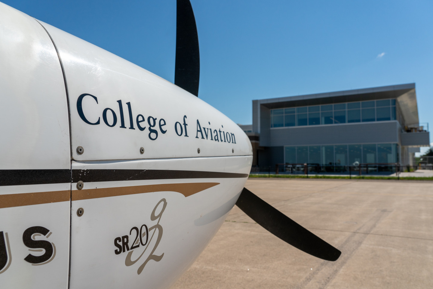 The nose of a College of Aviation plane.