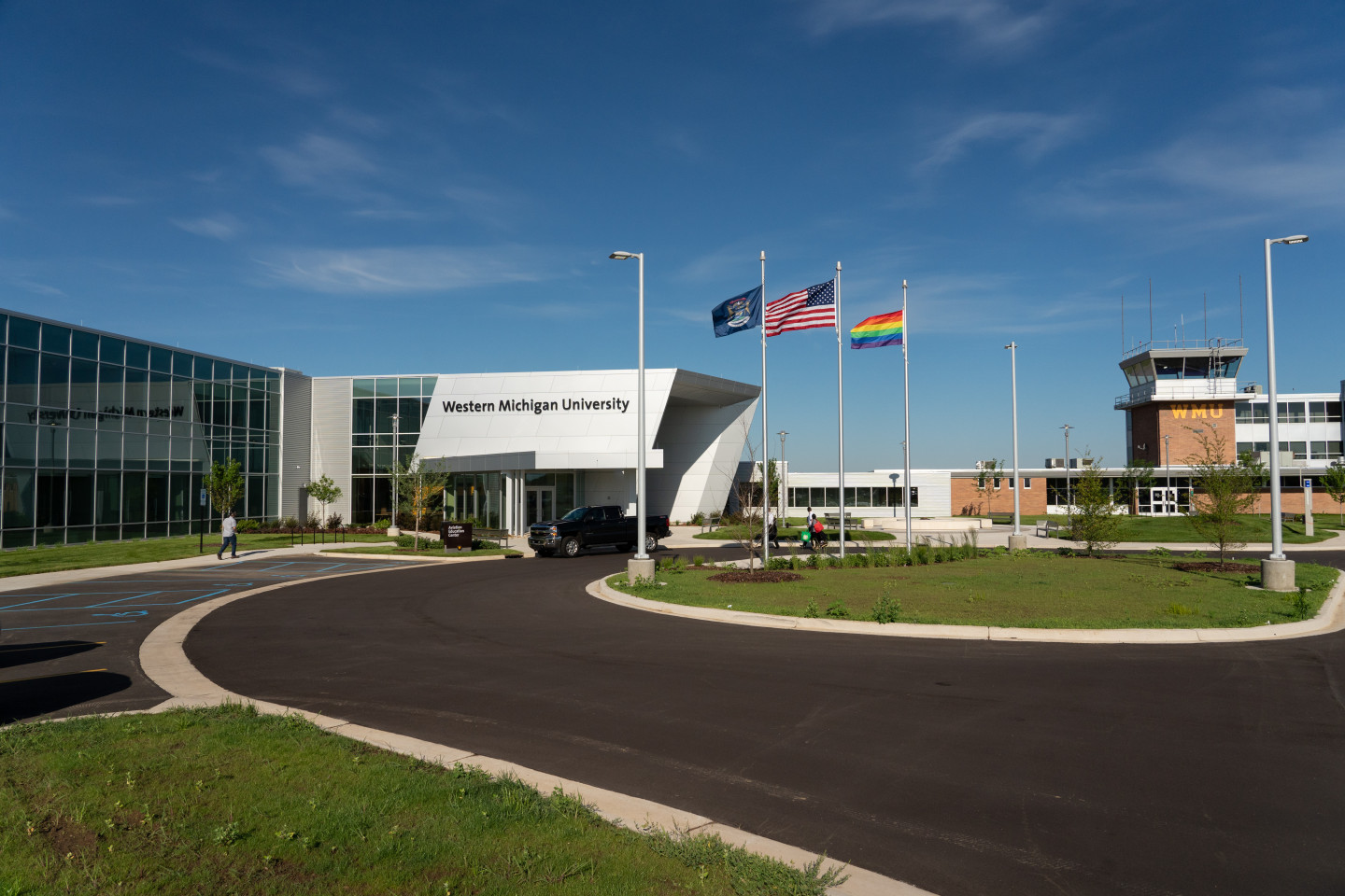An exterior view of the Aviation Education Center.