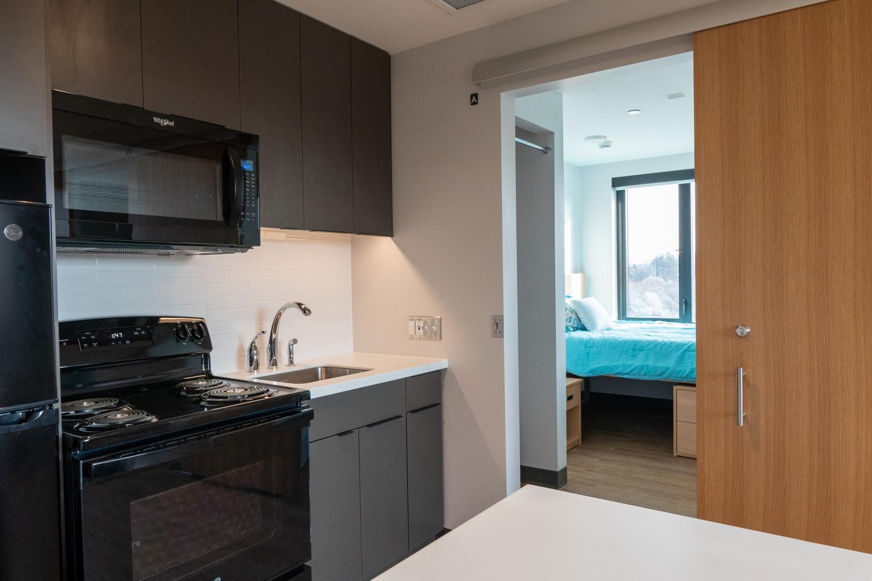 An apartment kitchen.