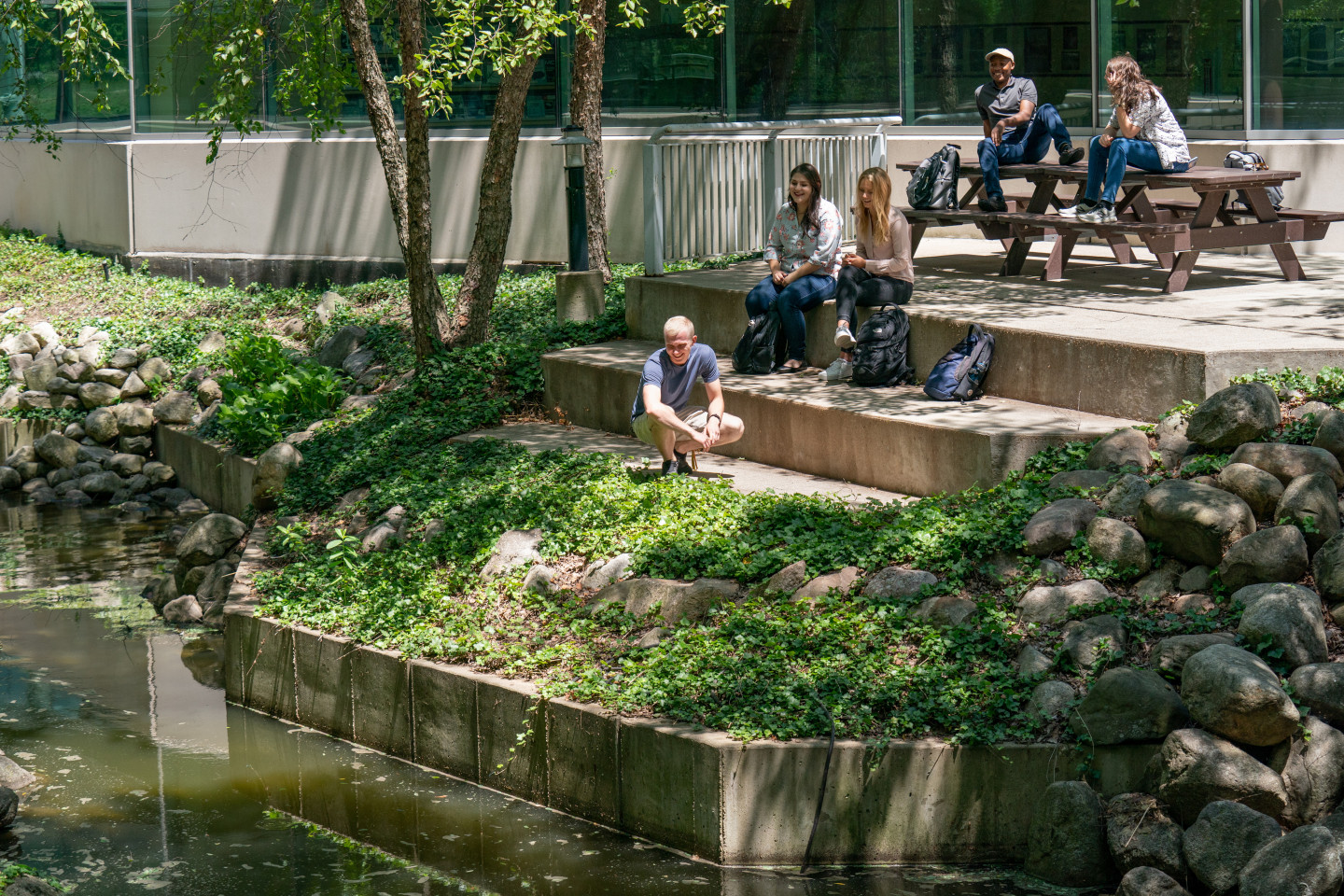Students sitting at picnic tables by the water outside Floyd Hall.