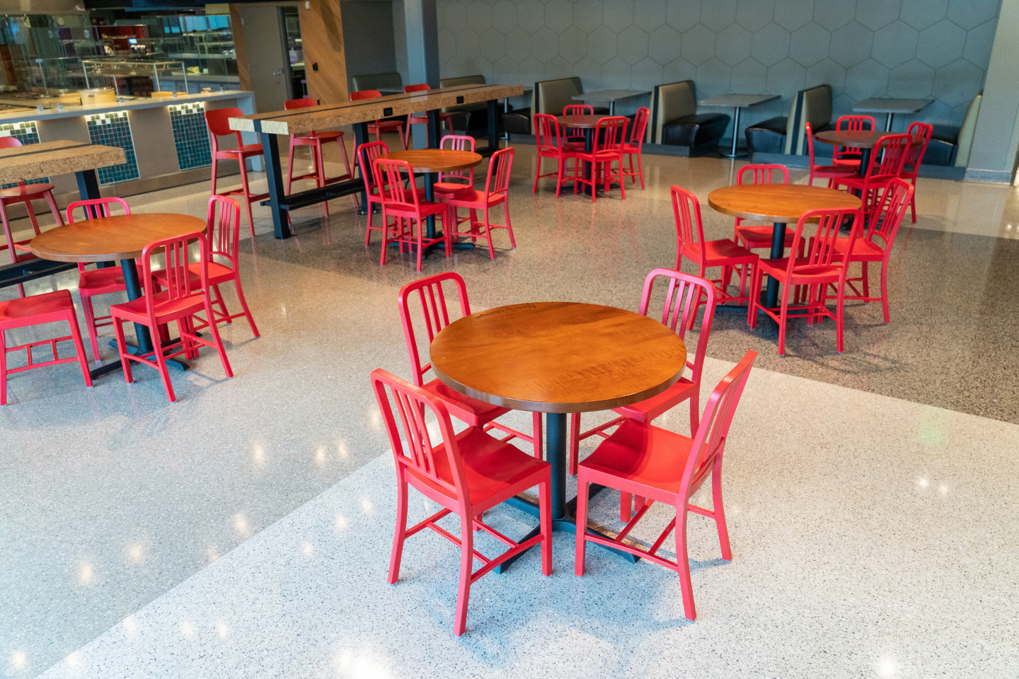 Tables and chairs inside Valley Dining Center.