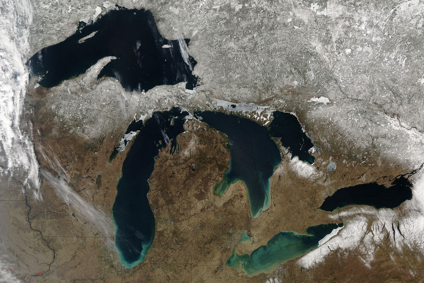 Satellite view of the five Great Lakes.