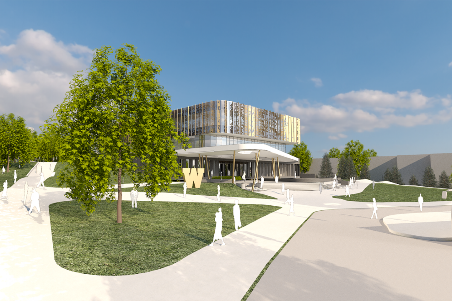 Photo of a rendering of the new WMU student center.
