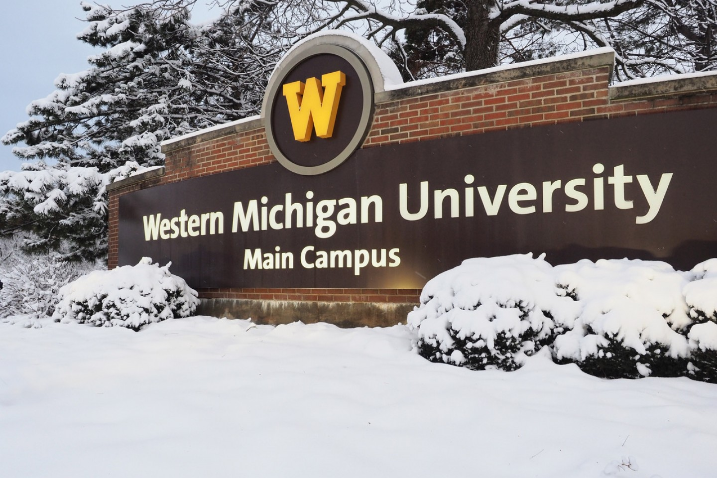 WMU campus sign surrounded by a snowy landscape