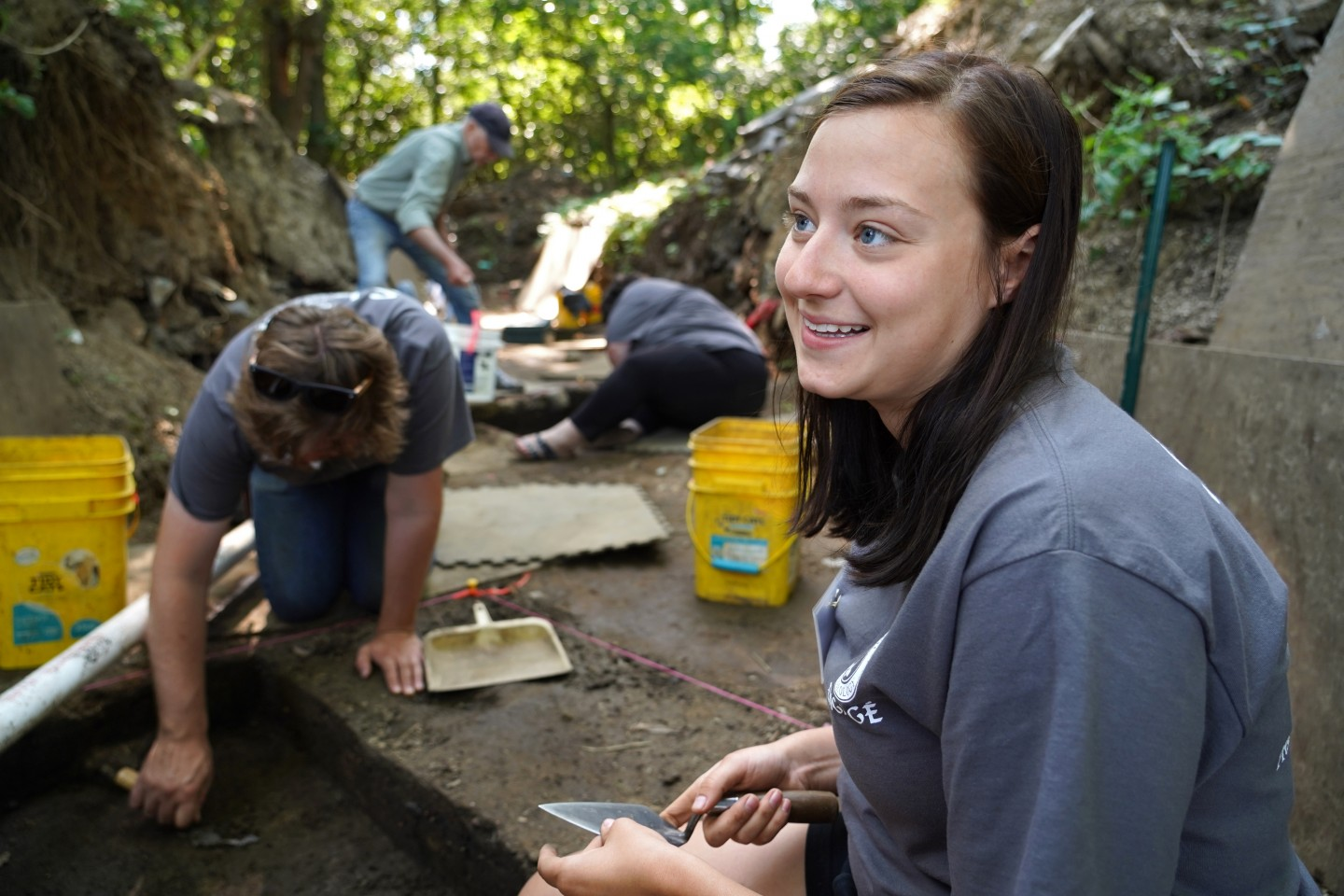 Raegan Delmonico works at an excavation site at Fort St. Joseph.