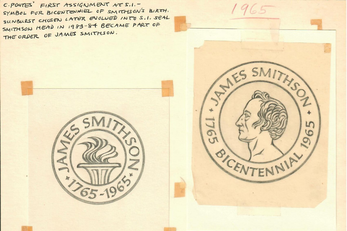 Original drawings and notes by Crimilda Pontes, 1965, Smithsonian Institution Archives, Accession 89-024, Box 4