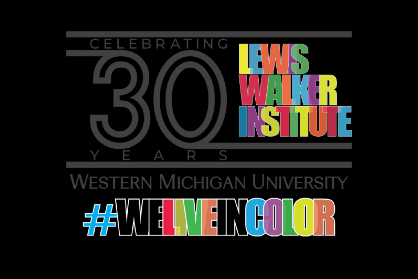 The logo for 30 years of the Lewis Walker Institute.