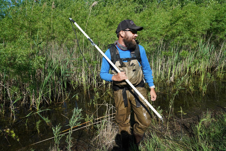 Adam Austin wades through a wetland.