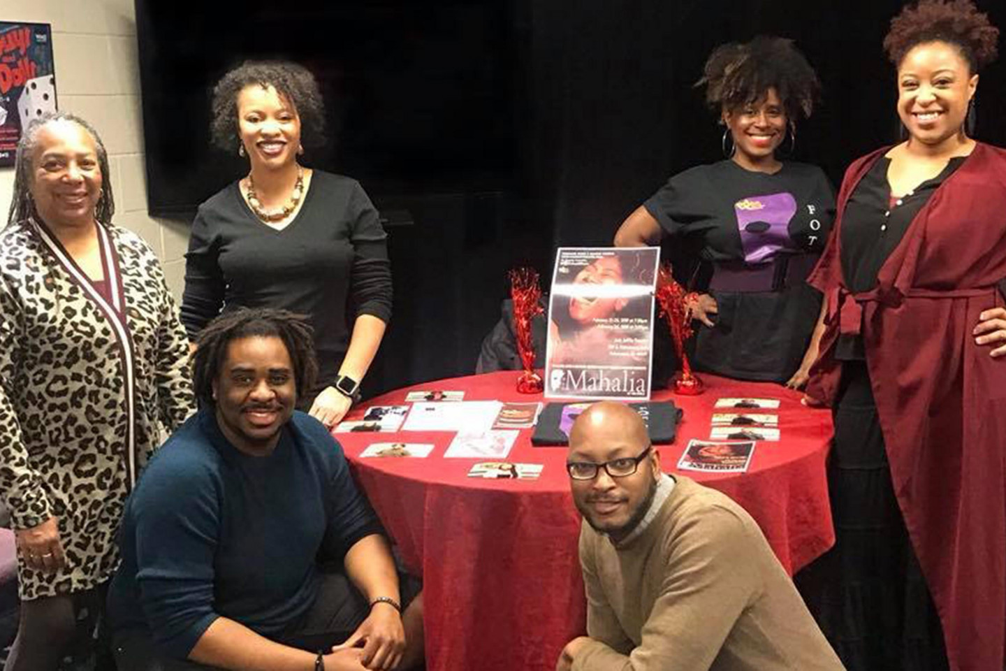 """Reginald Edmund poses with members of the Face Off Theatre Company at a """"Black Lives, Black Words"""" event in 2018."""