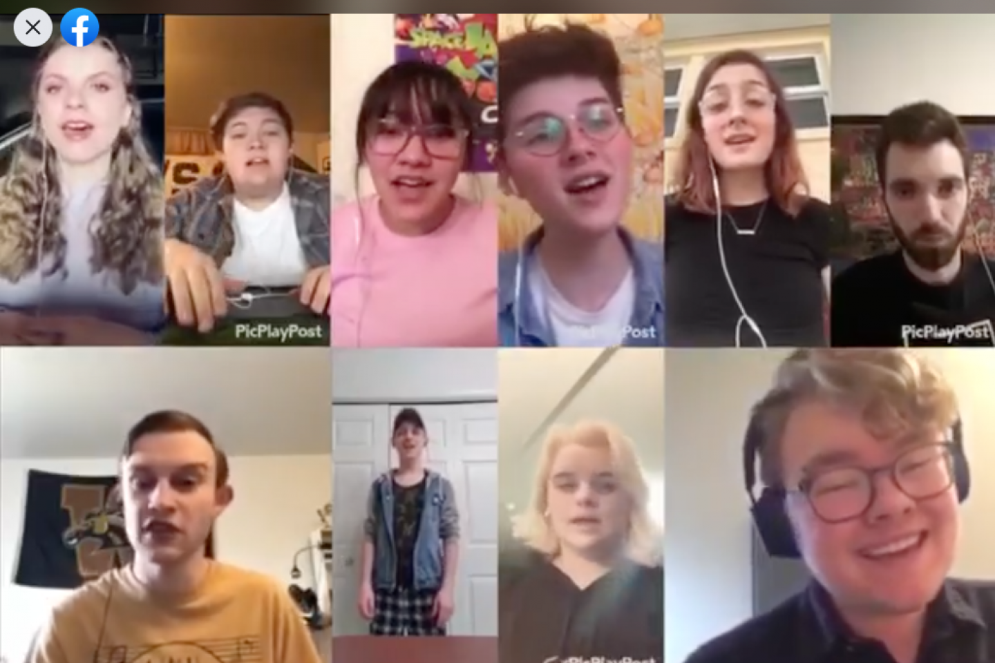 Several students sing a song virtually over video conference.