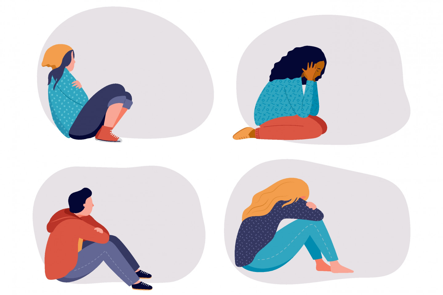 An illustration of several youth sitting down, appearing dejected or depressed.