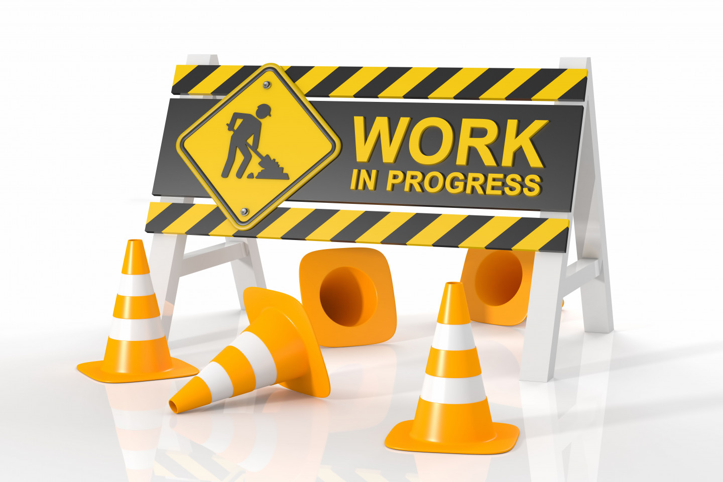 Photo of a construction sign with Work in Progress and construction cones.