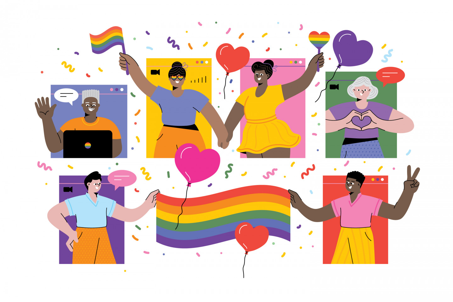 An illustration featuring people in various virtual windows holding LGBT pride flags.