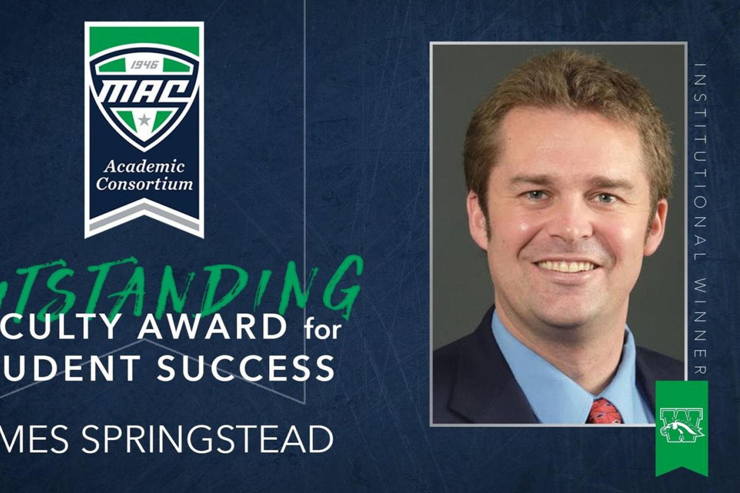 A photo of Dr. James Springstead who won the MAC Outstanding Faculty Award for Student Success.