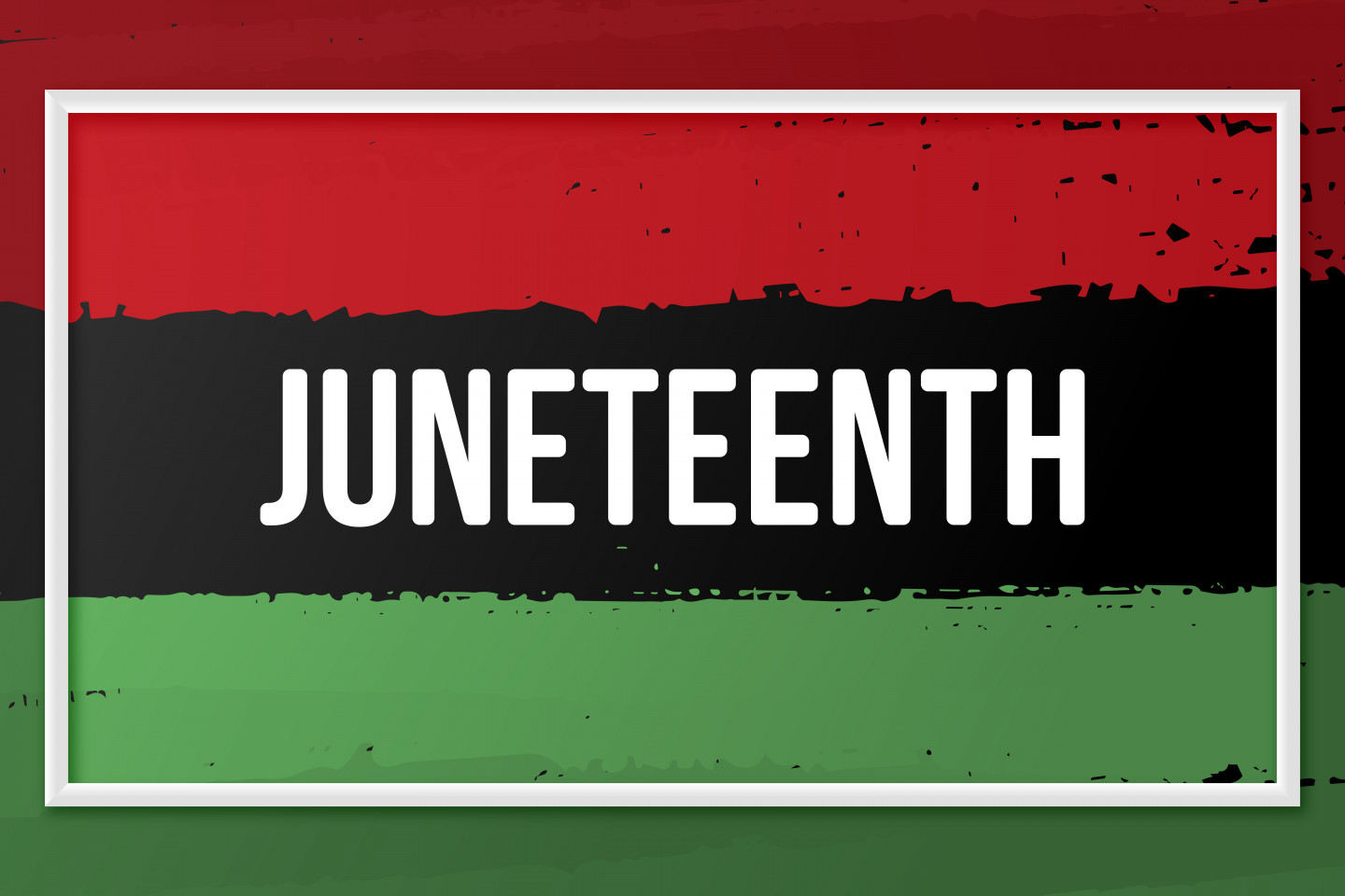 """The word """"Juneteenth"""" with a background that is red, black and green."""