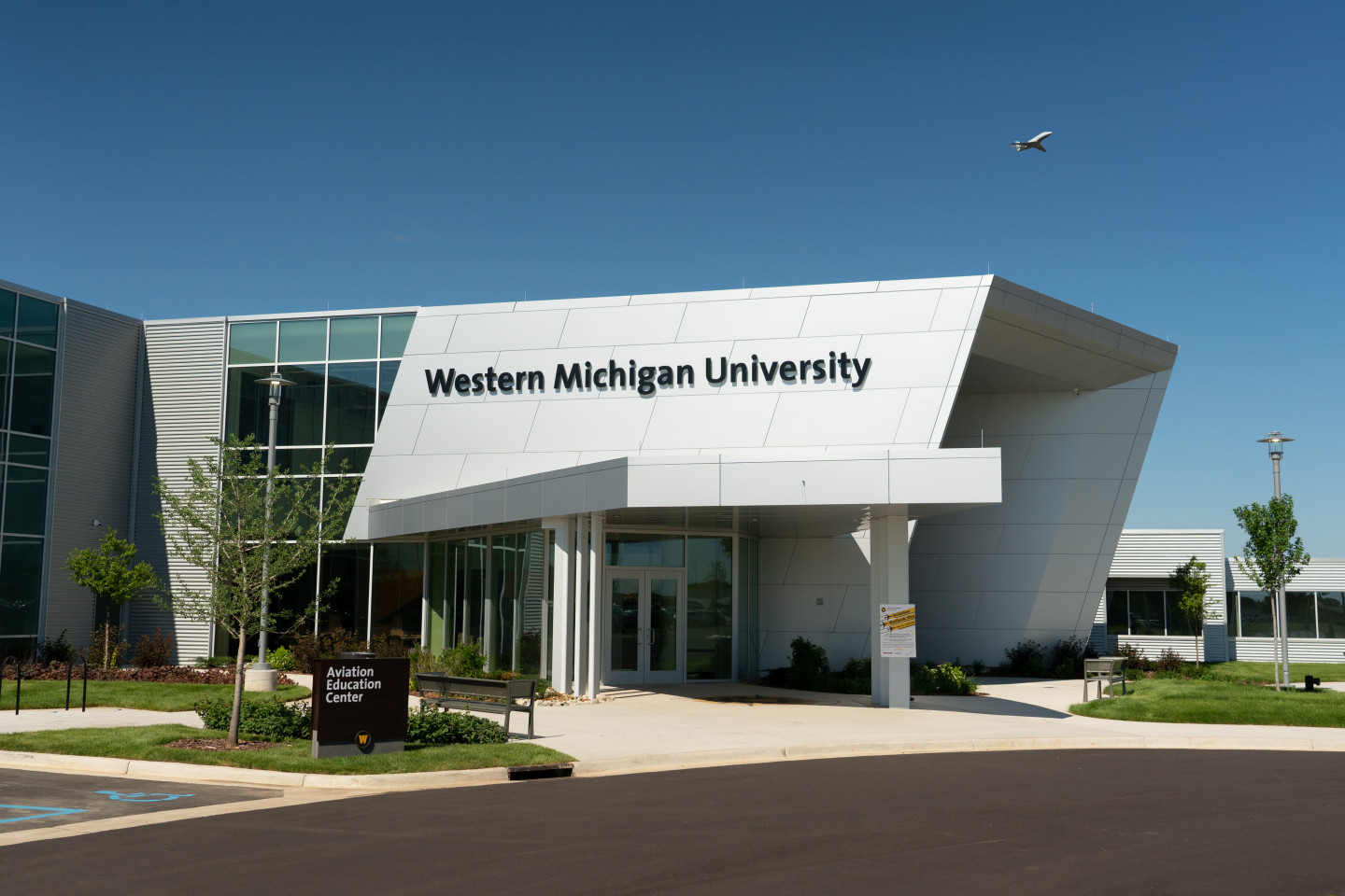 An exterior photo of the new Aviation Education Center.