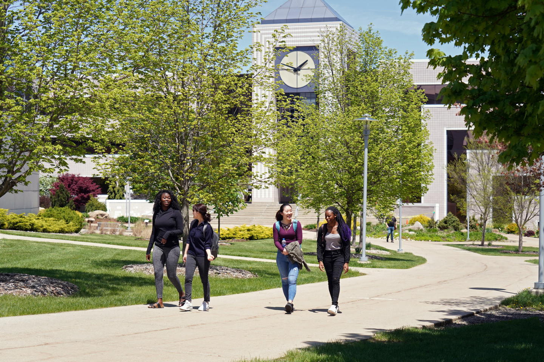 Students walk on Western Michigan University's campus.