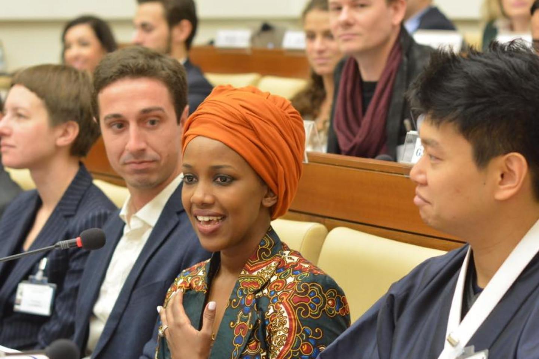 Tabitha Mpamira speaks at the Vatican.