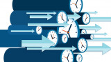 pictured is a graphic with clocks and arrows