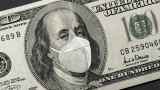 $100 bill graphic with Ben Franklin wearing face mask