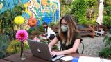 Student sitting flower garden working on laptop