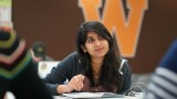 Janani Shivaguru sitting in study lounge