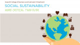 Pictured is a graphic of a hand holding the earth with sustainability icons surrounding it