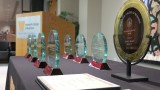 photo of awards displayed on table