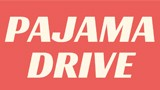 red and white graphic with pajama drive in the center