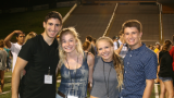 Group of four students at fall welcome event