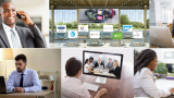 A collage of images depicting people interviewing online via laptop and on the phone, as well as a banner advertising a virtual job fair.