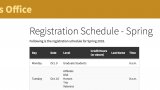 A screenshot of the registration schedule