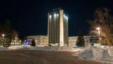 Sprau Tower at night