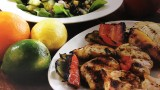Chicken dish with corn, black beans and veggies in a dish with chicken