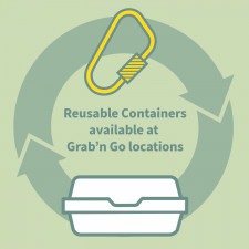 Reusable container and carabiner graphic