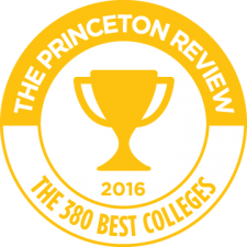trophy silhouette in gold circle reading The Princeton Review, The 380 Best Colleges, 2016.