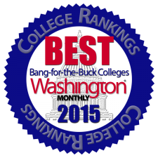 Capitol Building dome silhouette in blue circular badge reading College Rankings, Best Bang-for-the-Buck Colleges Washington Monthly 2015.